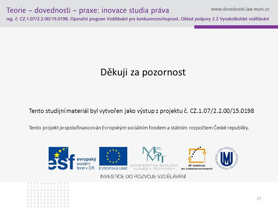 17 Děkuji za pozornost Tento studijní materiál byl vytvořen jako výstup z projektu č. CZ.1.07/2.2.00/15.0198 Tento projekt je spolufinancován Evropský