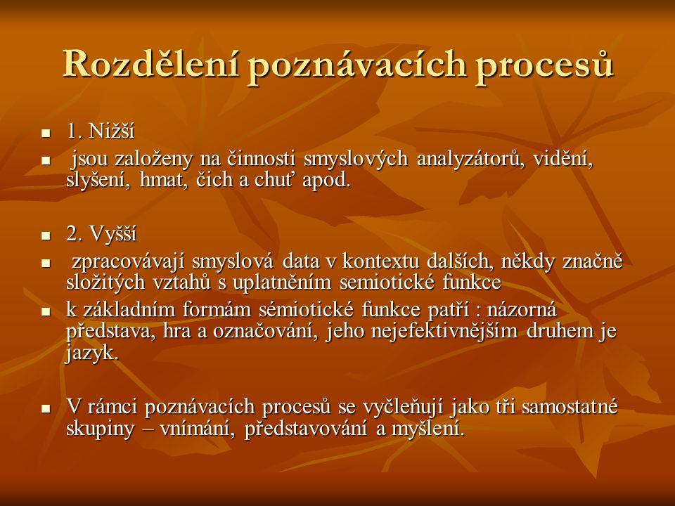 Rozdělení poznávacích procesů 1. Nižší 1.