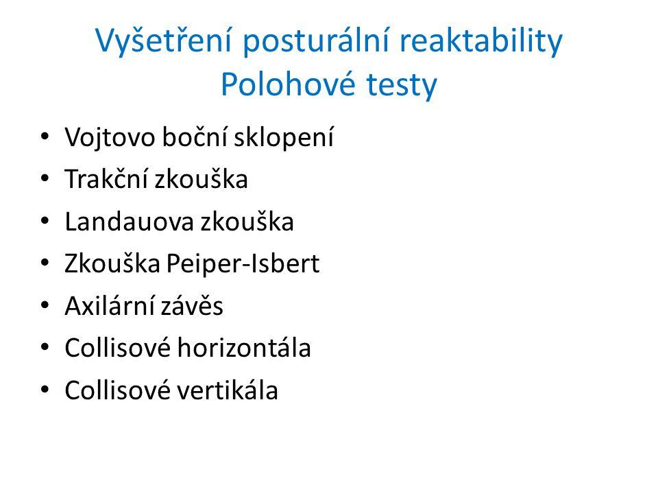 Vyšetření posturální reaktability Polohové testy Vojtovo boční sklopení Trakční zkouška Landauova zkouška Zkouška Peiper-Isbert Axilární závěs Collisové horizontála Collisové vertikála