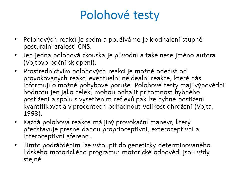 Polohové testy Polohových reakcí je sedm a používáme je k odhalení stupně posturální zralosti CNS.