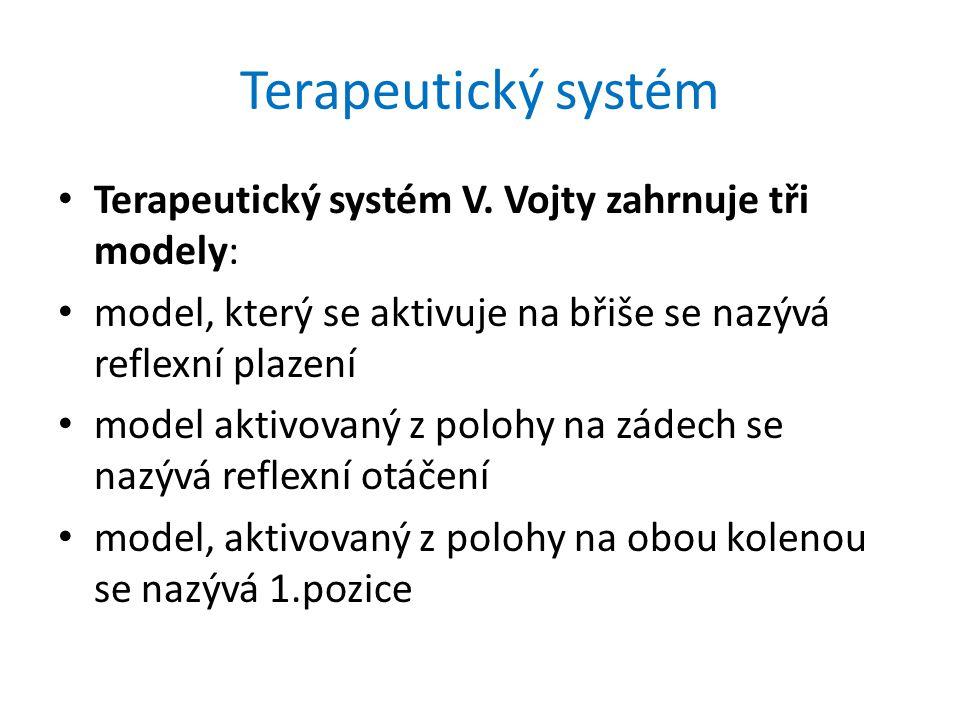Terapeutický systém Terapeutický systém V. Vojty zahrnuje tři modely: model, který se aktivuje na břiše se nazývá reflexní plazení model aktivovaný z