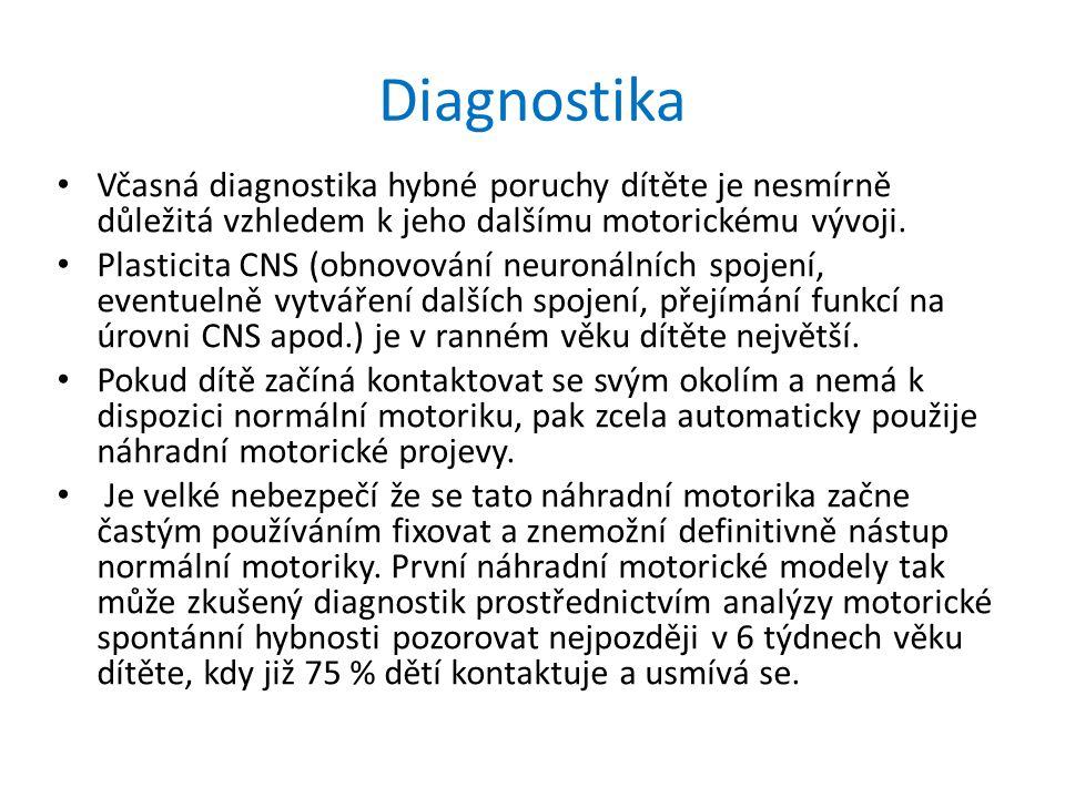 Diagnostika Včasná diagnostika hybné poruchy dítěte je nesmírně důležitá vzhledem k jeho dalšímu motorickému vývoji.