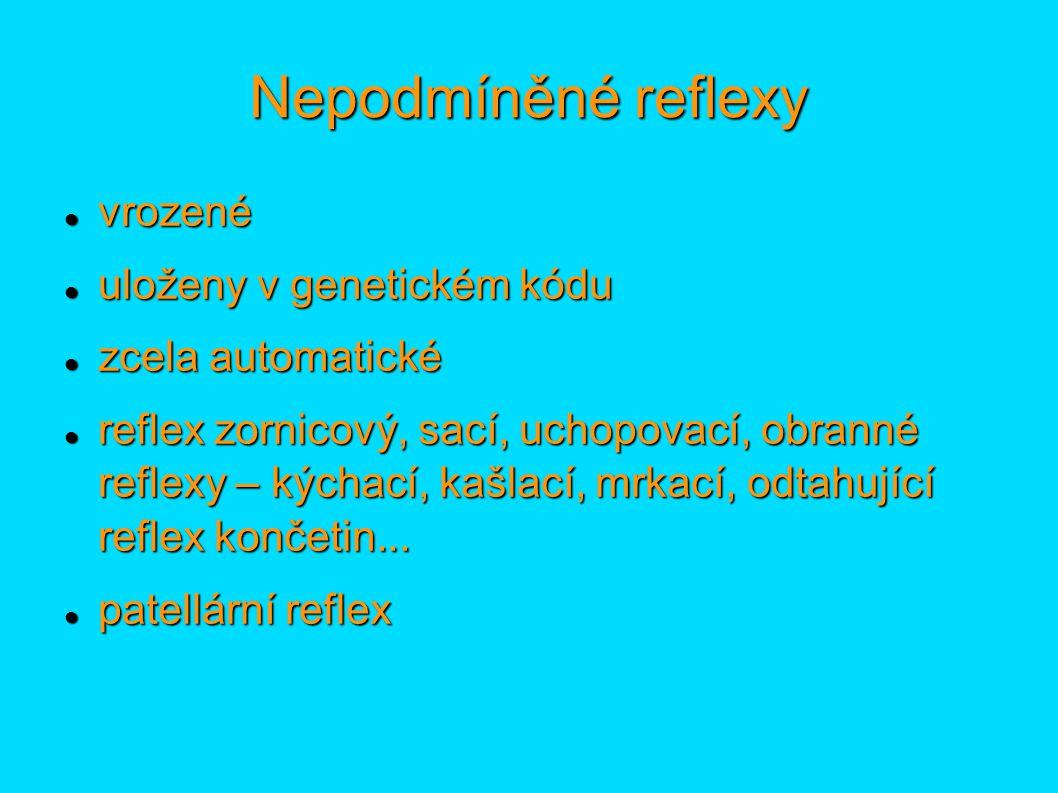 Nepodmíněné reflexy vrozené vrozené uloženy v genetickém kódu uloženy v genetickém kódu zcela automatické zcela automatické reflex zornicový, sací, uc