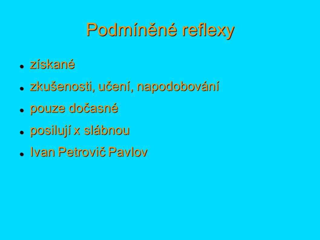 Podmíněné reflexy získané získané zkušenosti, učení, napodobování zkušenosti, učení, napodobování pouze dočasné pouze dočasné posilují x slábnou posilují x slábnou Ivan Petrovič Pavlov Ivan Petrovič Pavlov