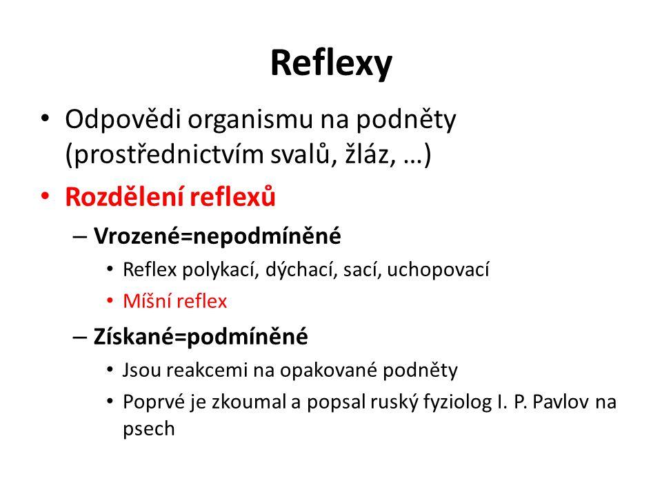 Reflexy Odpovědi organismu na podněty (prostřednictvím svalů, žláz, …) Rozdělení reflexů – Vrozené=nepodmíněné Reflex polykací, dýchací, sací, uchopovací Míšní reflex – Získané=podmíněné Jsou reakcemi na opakované podněty Poprvé je zkoumal a popsal ruský fyziolog I.