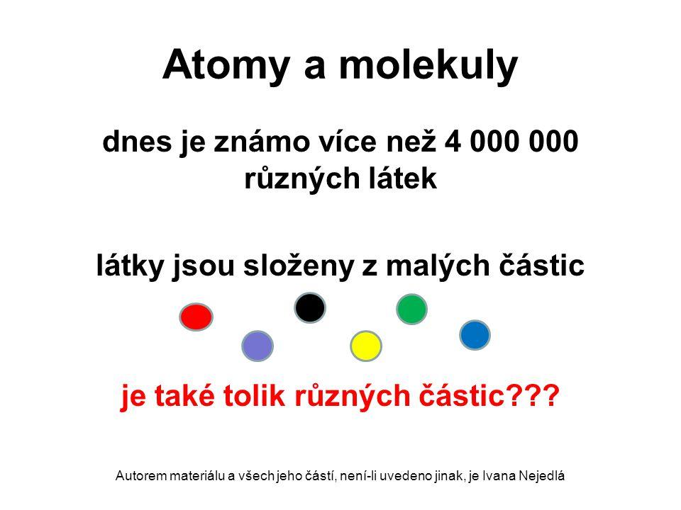 Atomy a molekuly dnes je známo více než 4 000 000 různých látek látky jsou složeny z malých částic je také tolik různých částic??? Autorem materiálu a