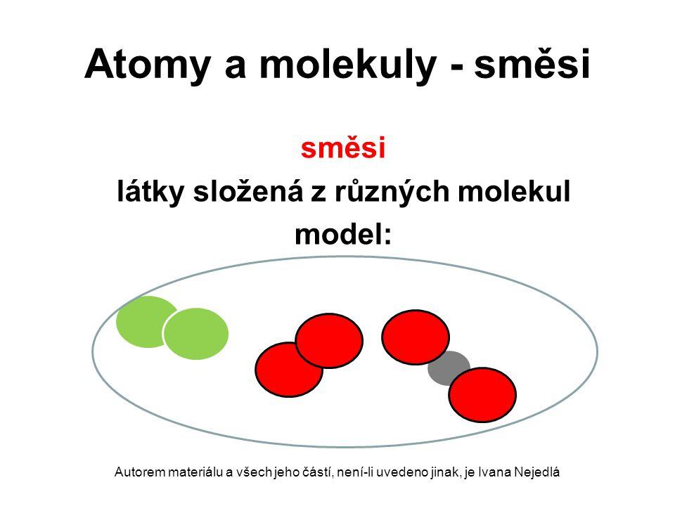 Atomy a molekuly - směsi směsi látky složená z různých molekul model: Autorem materiálu a všech jeho částí, není-li uvedeno jinak, je Ivana Nejedlá