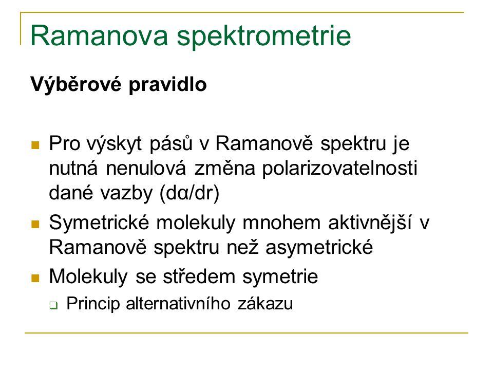 Ramanova spektrometrie Výběrové pravidlo Pro výskyt pásů v Ramanově spektru je nutná nenulová změna polarizovatelnosti dané vazby (dα/dr) Symetrické m