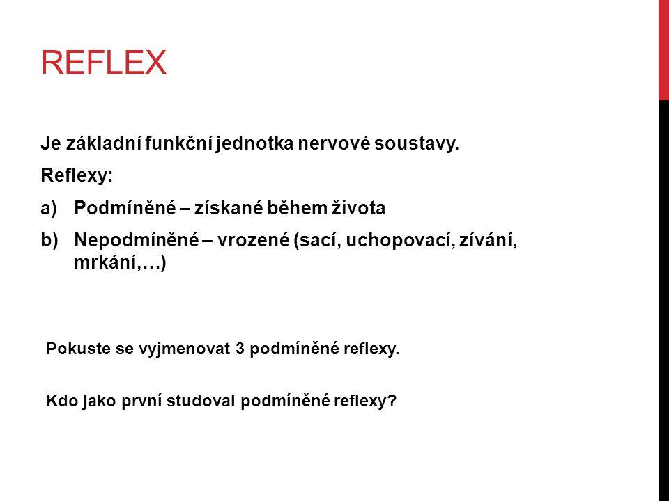 REFLEX Je základní funkční jednotka nervové soustavy.