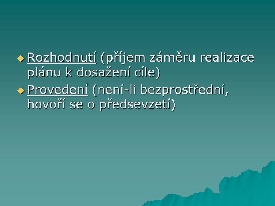  Rozhodnutí (příjem záměru realizace plánu k dosažení cíle)  Provedení (není-li bezprostřední, hovoří se o předsevzetí)