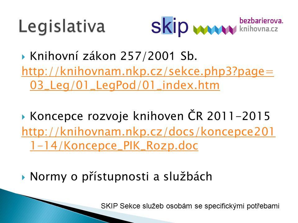  Knihovní zákon 257/200 1 Sb. http://knihovnam.nkp.cz/sekce.php3?page= 03_Leg/01_LegPod/01_index.htm  Koncepce rozvoje knihoven ČR 2011-2015 http://
