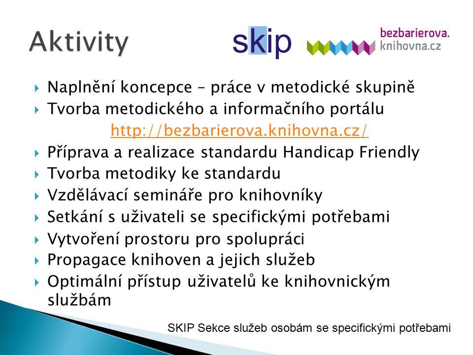  Naplnění koncepce – práce v metodické skupině  Tvorba metodického a informačního portálu http://bezbarierova.knihovna.cz/  Příprava a realizace st