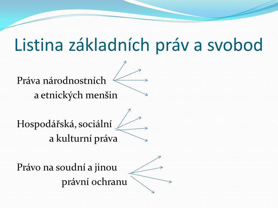 Listina základních práv a svobod Práva národnostních a etnických menšin Hospodářská, sociální a kulturní práva Právo na soudní a jinou právní ochranu