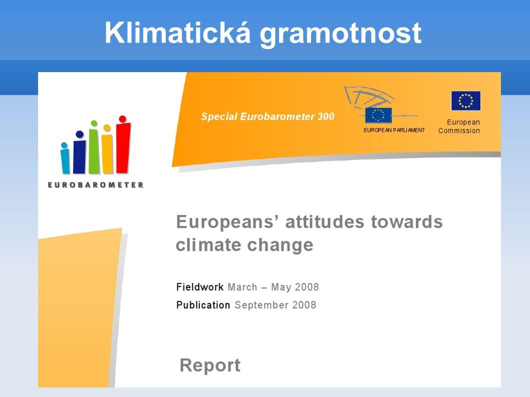 1.Vnímání změny klimatu a globálního oteplování 2.Úroveň informací o změně klimatu 3.Boj proti klimatickým změnám 4.Zapojení občanů do boje proti klimatickým změnám Eurobarometer 2009