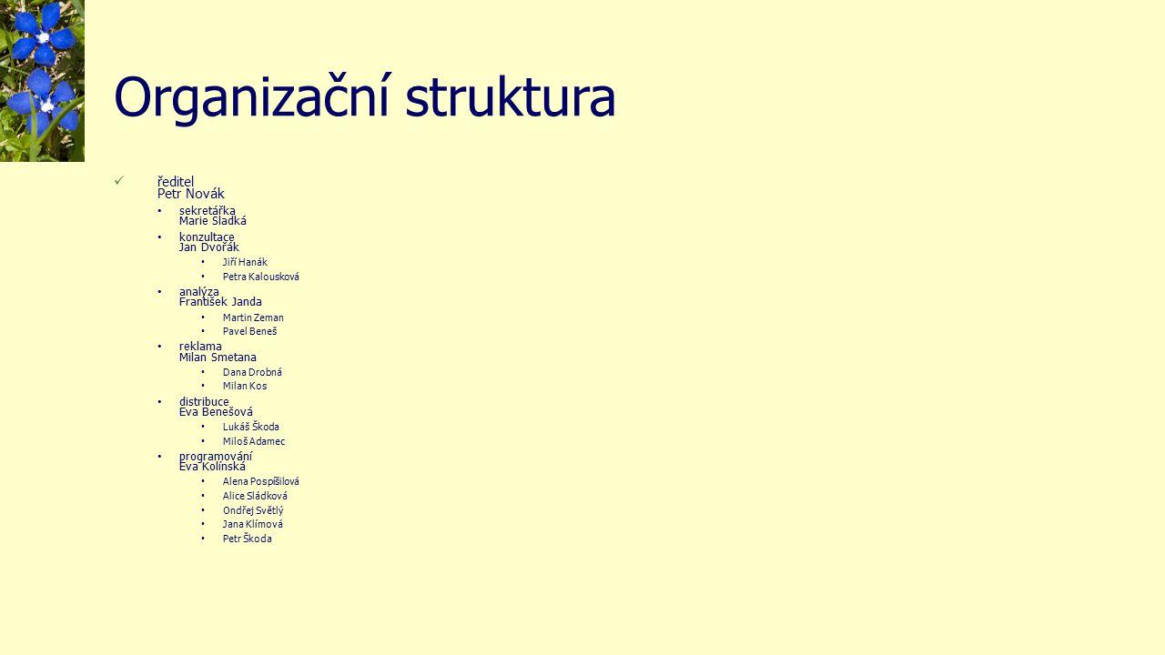 Organizační struktura ředitel Petr Novák sekretářka Marie Sladká konzultace Jan Dvořák Jiří Hanák Petra Kalousková analýza František Janda Martin Zema