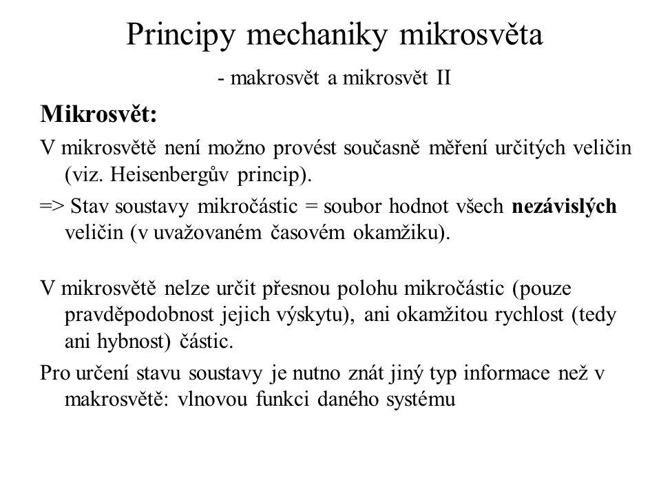 Principy mechaniky mikrosvěta - makrosvět a mikrosvět II Mikrosvět: V mikrosvětě není možno provést současně měření určitých veličin (viz. Heisenbergů