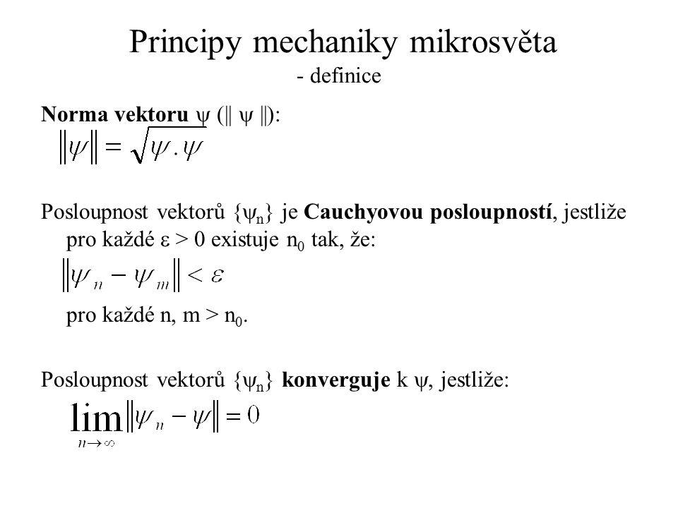 Principy mechaniky mikrosvěta - definice Norma vektoru  (||  ||): Posloupnost vektorů {  n } je Cauchyovou posloupností, jestliže pro každé  > 0 e
