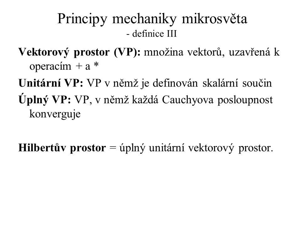 Principy mechaniky mikrosvěta - definice III Vektorový prostor (VP): množina vektorů, uzavřená k operacím + a * Unitární VP: VP v němž je definován sk
