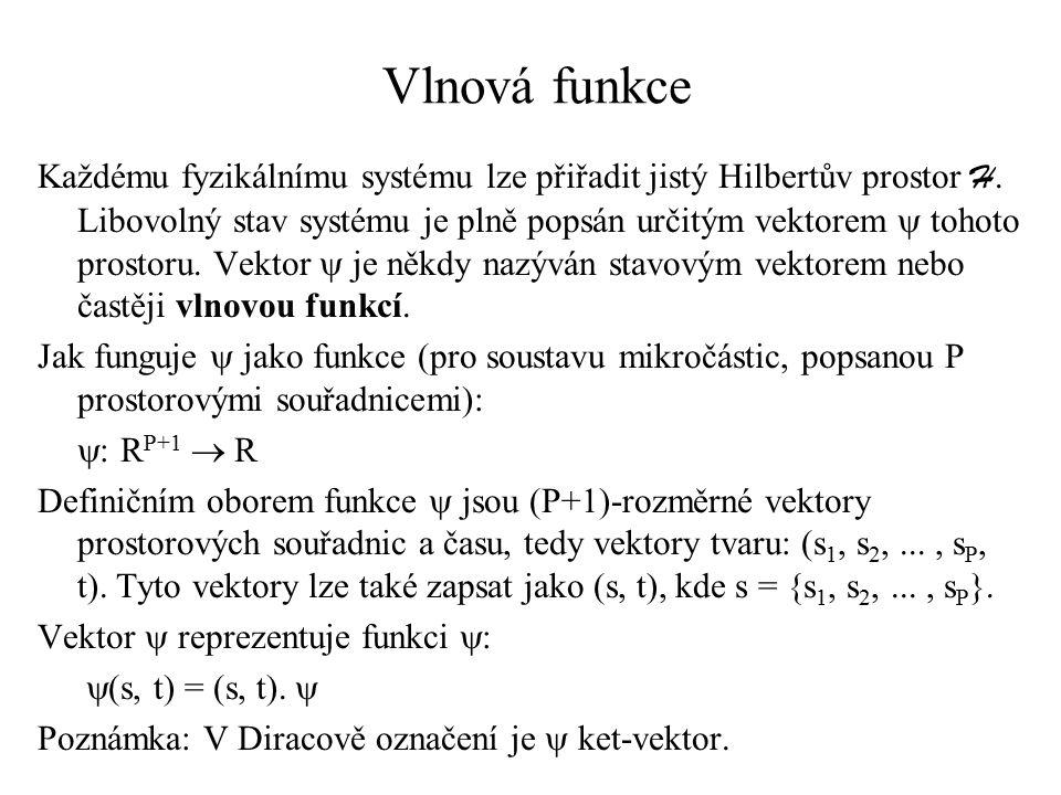 Vlnová funkce Každému fyzikálnímu systému lze přiřadit jistý Hilbertův prostor H. Libovolný stav systému je plně popsán určitým vektorem  tohoto pros