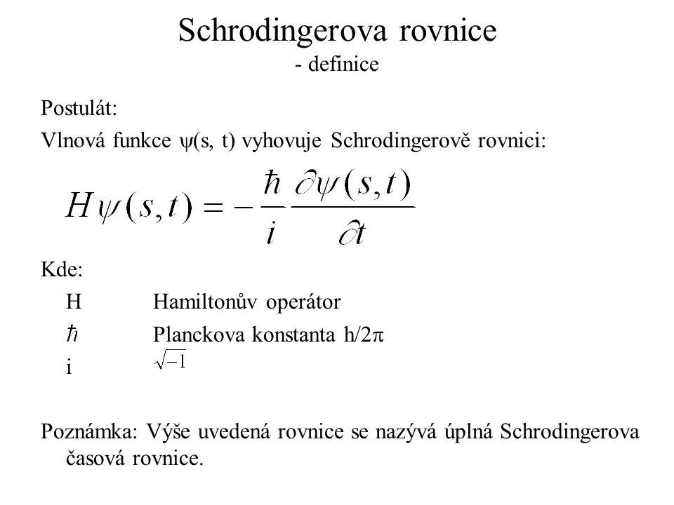 Schrodingerova rovnice - definice Postulát: Vlnová funkce  (s, t) vyhovuje Schrodingerově rovnici: Kde: HHamiltonův operátor Planckova konstanta h/2