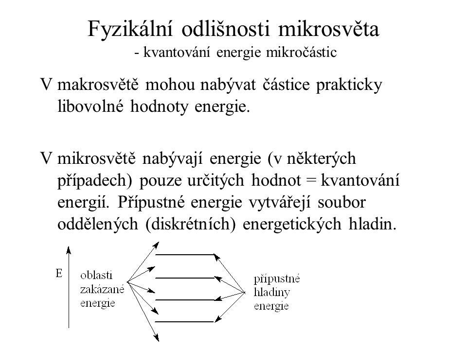 Fyzikální odlišnosti mikrosvěta - kvantování energie mikročástic V makrosvětě mohou nabývat částice prakticky libovolné hodnoty energie. V mikrosvětě
