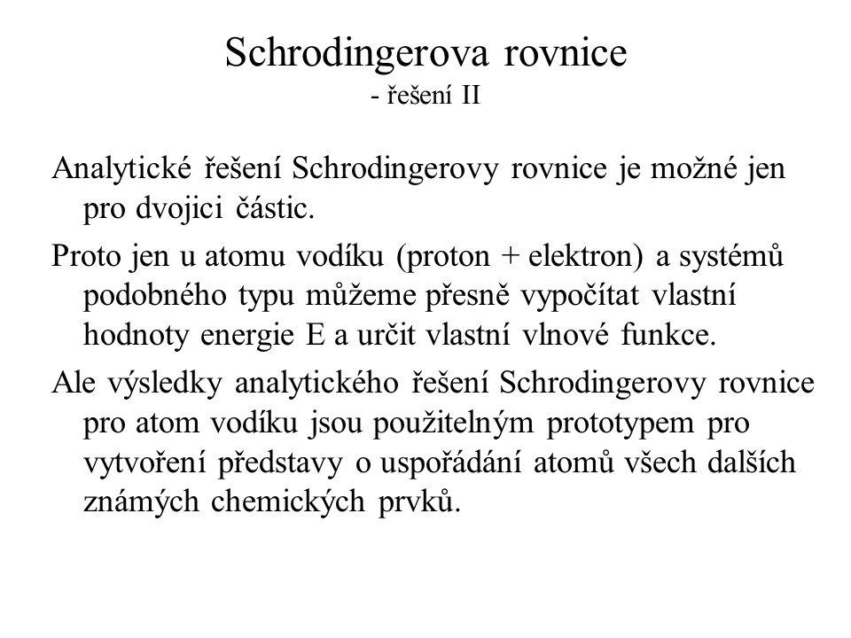 Schrodingerova rovnice - řešení II Analytické řešení Schrodingerovy rovnice je možné jen pro dvojici částic. Proto jen u atomu vodíku (proton + elektr