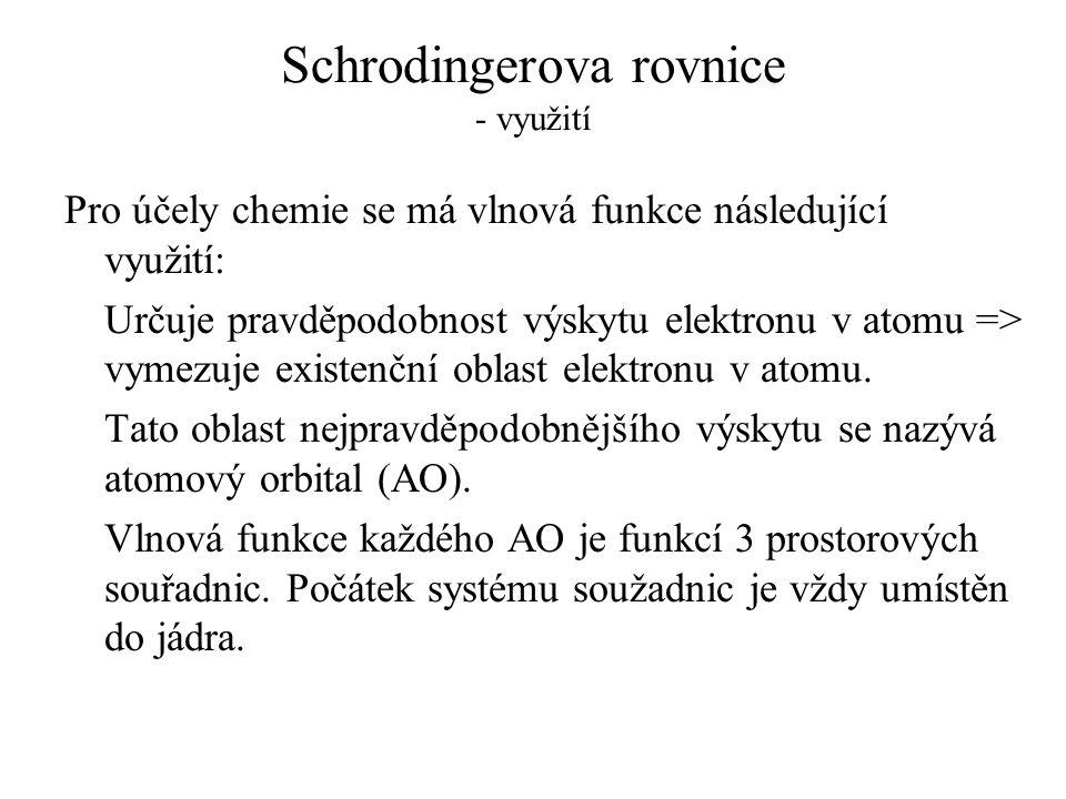 Schrodingerova rovnice - využití Pro účely chemie se má vlnová funkce následující využití: Určuje pravděpodobnost výskytu elektronu v atomu => vymezuj