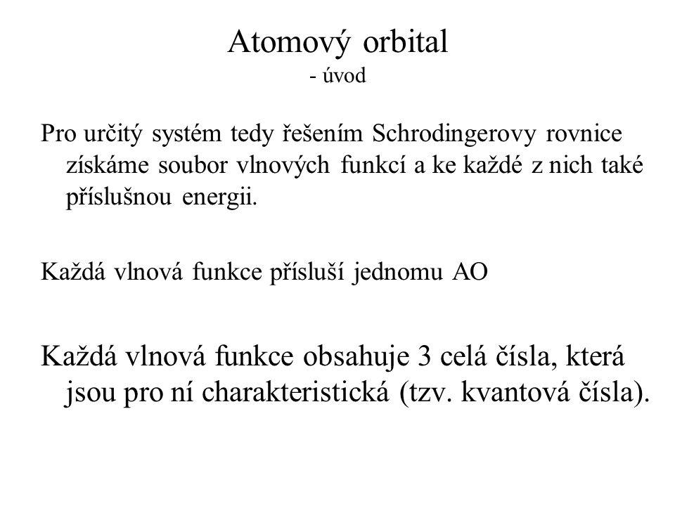 Atomový orbital - úvod Pro určitý systém tedy řešením Schrodingerovy rovnice získáme soubor vlnových funkcí a ke každé z nich také příslušnou energii.