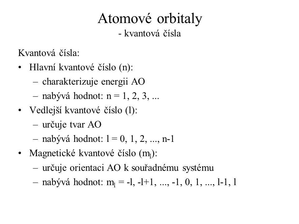 Atomové orbitaly - kvantová čísla Kvantová čísla: Hlavní kvantové číslo (n): –charakterizuje energii AO –nabývá hodnot: n = 1, 2, 3,... Vedlejší kvant