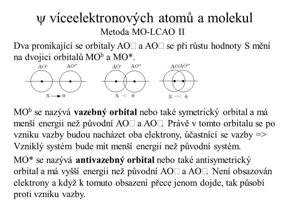  víceelektronových atomů a molekul Metoda MO-LCAO II Dva pronikající se orbitaly AO a AO  se při růstu hodnoty S mění na dvojici orbitalů MO b a MO*