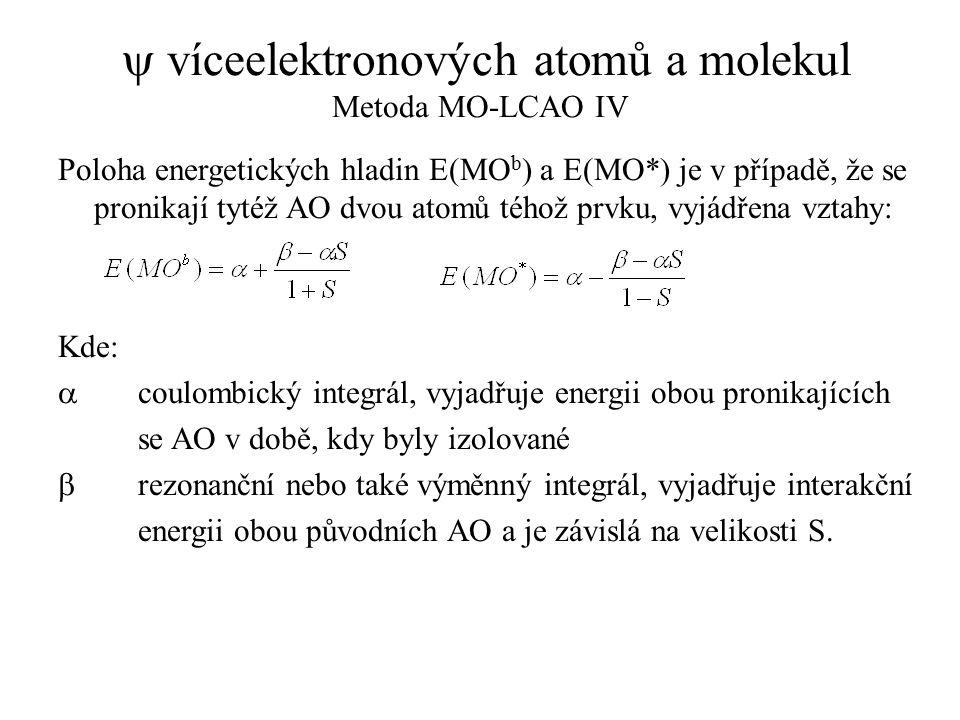  víceelektronových atomů a molekul Metoda MO-LCAO IV Poloha energetických hladin E(MO b ) a E(MO*) je v případě, že se pronikají tytéž AO dvou atomů