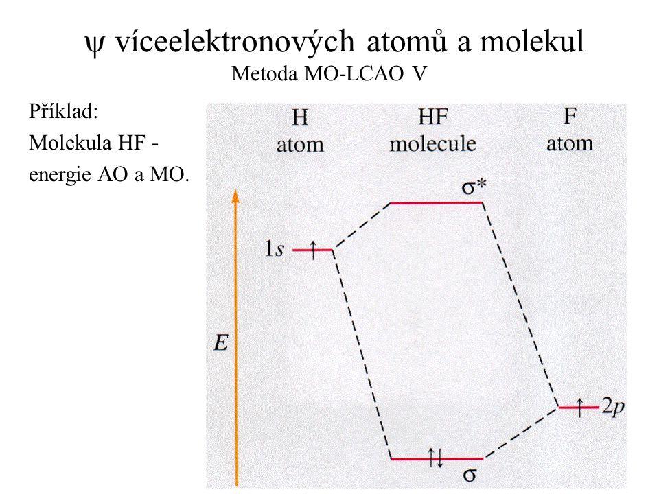  víceelektronových atomů a molekul Metoda MO-LCAO V Příklad: Molekula HF - energie AO a MO.