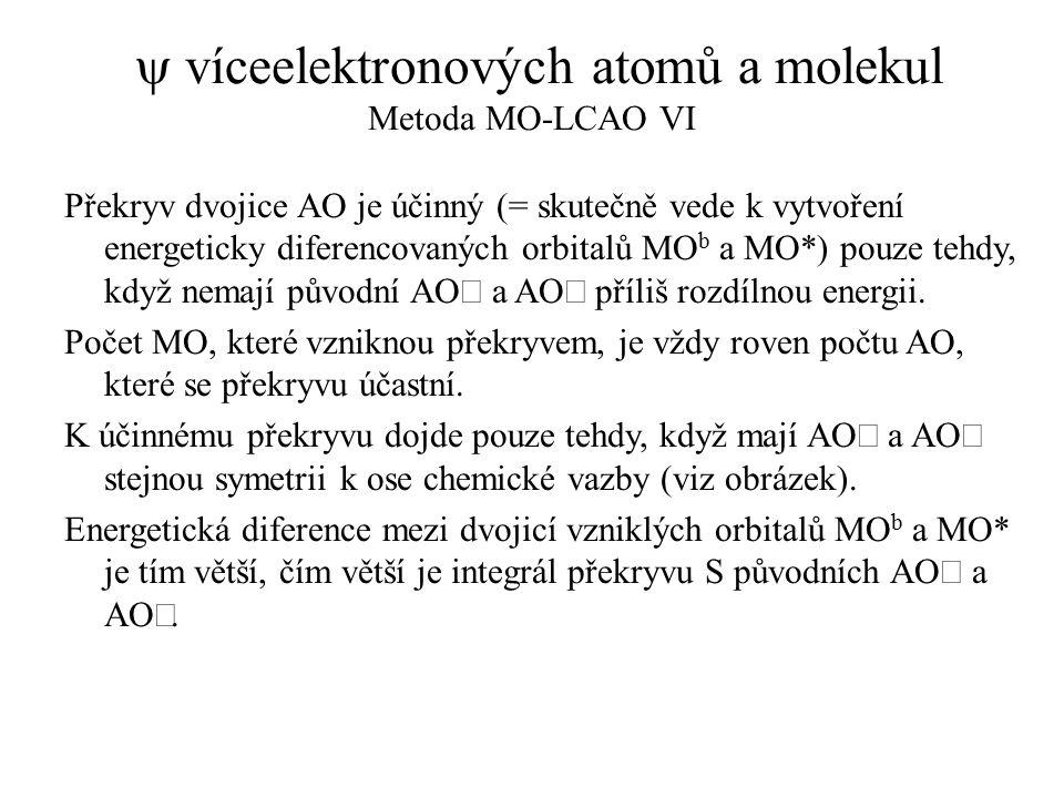  víceelektronových atomů a molekul Metoda MO-LCAO VI Překryv dvojice AO je účinný (= skutečně vede k vytvoření energeticky diferencovaných orbitalů M