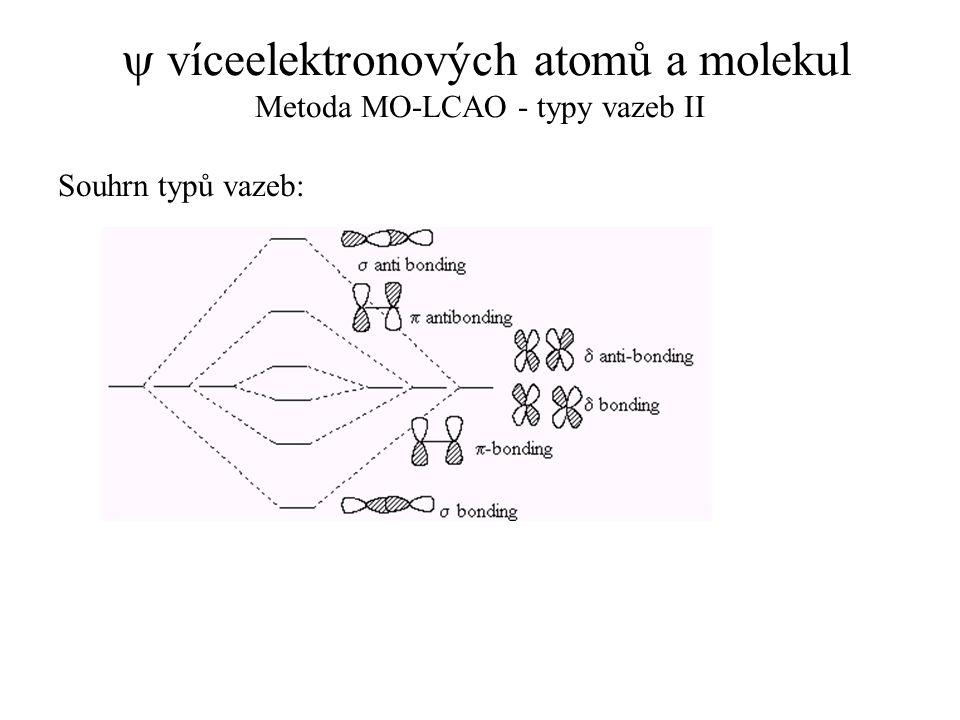  víceelektronových atomů a molekul Metoda MO-LCAO - typy vazeb II Souhrn typů vazeb: