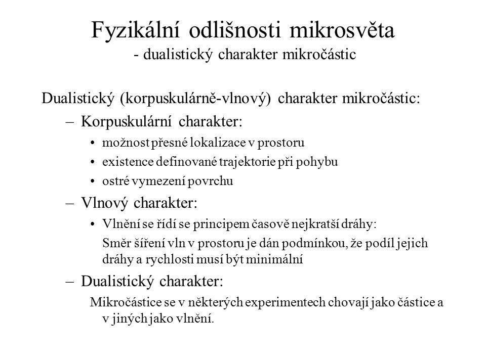Fyzikální odlišnosti mikrosvěta - dualistický charakter mikročástic Dualistický (korpuskulárně-vlnový) charakter mikročástic: –Korpuskulární charakter