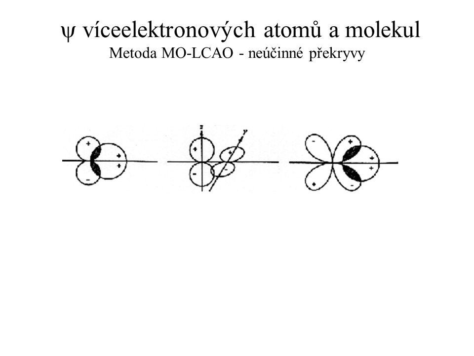  víceelektronových atomů a molekul Metoda MO-LCAO - neúčinné překryvy