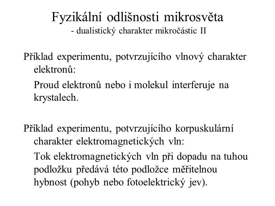 Fyzikální odlišnosti mikrosvěta - dualistický charakter mikročástic II Příklad experimentu, potvrzujícího vlnový charakter elektronů: Proud elektronů