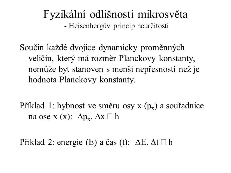 Fyzikální odlišnosti mikrosvěta - Heisenbergův princip neurčitosti Součin každé dvojice dynamicky proměnných veličin, který má rozměr Planckovy konsta