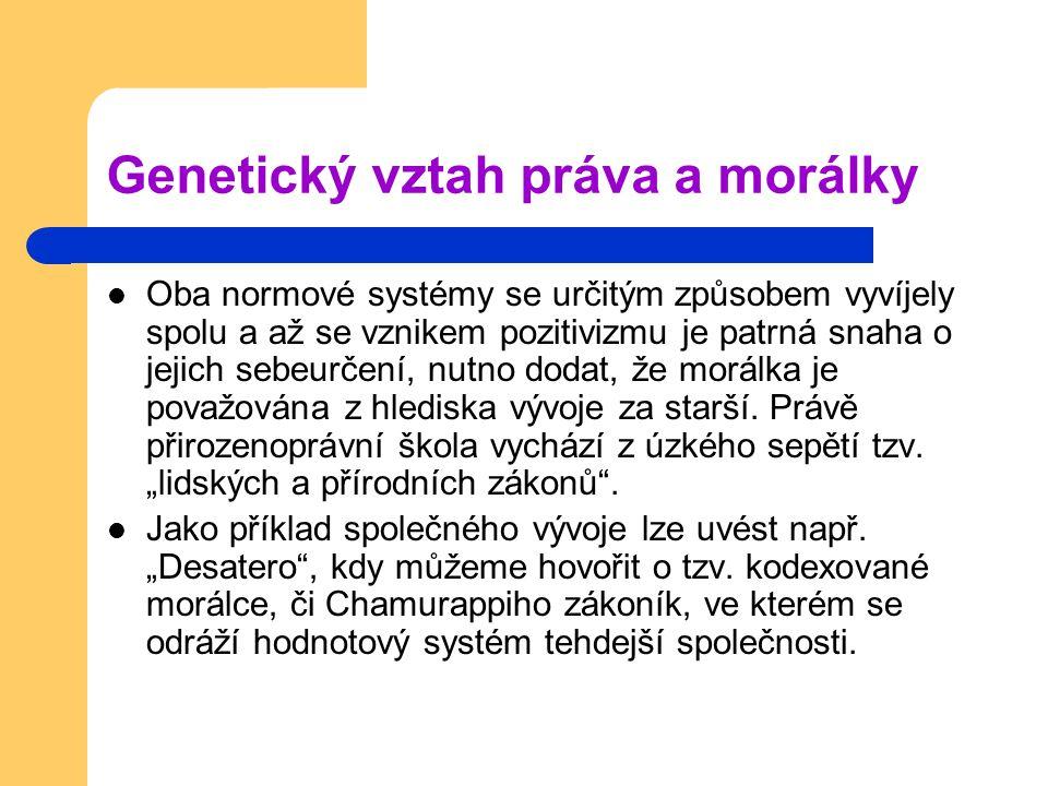 Genetický vztah práva a morálky Oba normové systémy se určitým způsobem vyvíjely spolu a až se vznikem pozitivizmu je patrná snaha o jejich sebeurčení, nutno dodat, že morálka je považována z hlediska vývoje za starší.