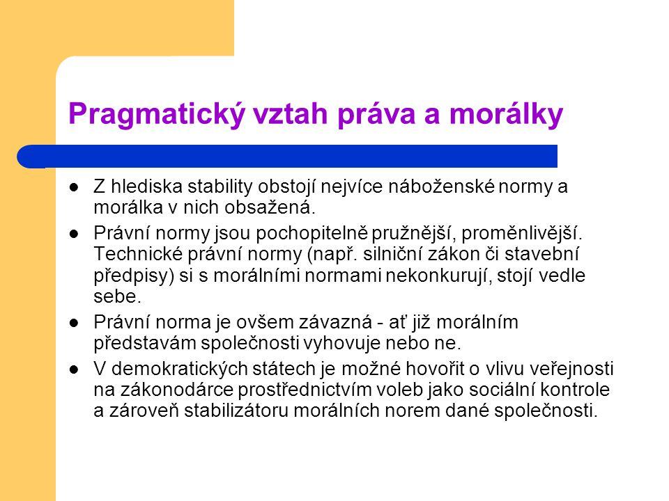 Pragmatický vztah práva a morálky Z hlediska stability obstojí nejvíce náboženské normy a morálka v nich obsažená.