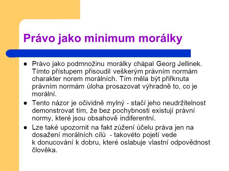 Právo jako minimum morálky Právo jako podmnožinu morálky chápal Georg Jellinek.