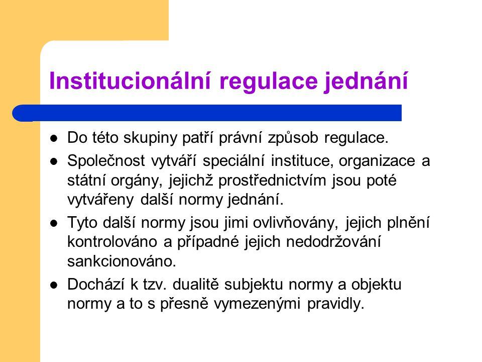 Institucionální regulace jednání Do této skupiny patří právní způsob regulace.