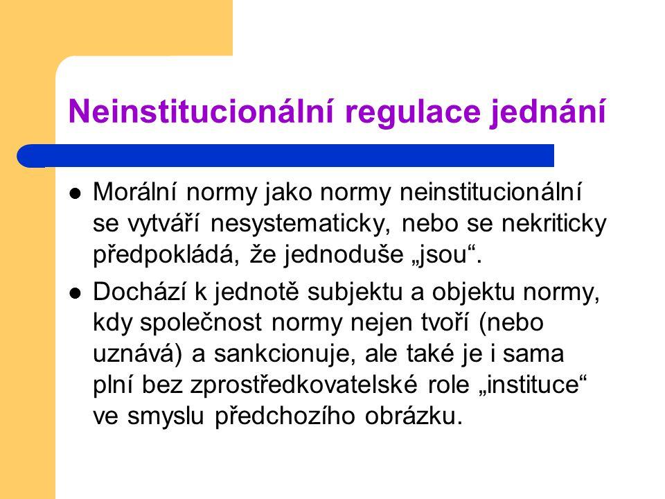 """Neinstitucionální regulace jednání Morální normy jako normy neinstitucionální se vytváří nesystematicky, nebo se nekriticky předpokládá, že jednoduše """"jsou ."""