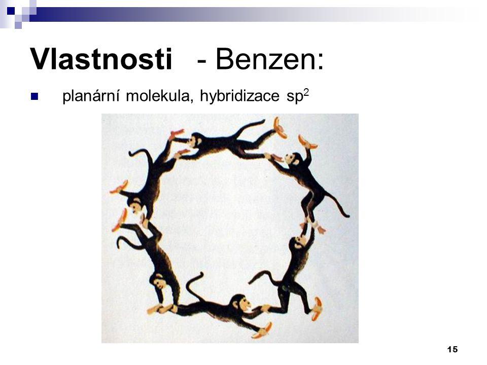 15 Vlastnosti - Benzen: planární molekula, hybridizace sp 2