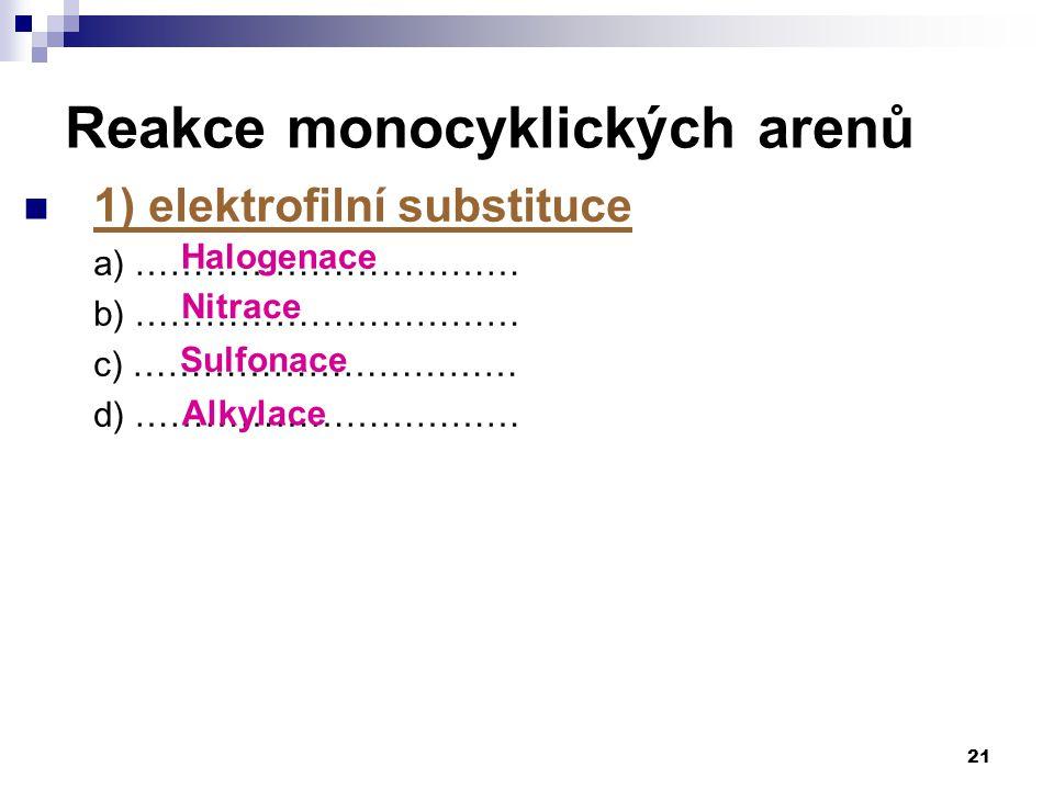 1) elektrofilní substituce a) …………………………… b) …………………………… c) …………………………… d) …………………………… 21 Reakce monocyklických arenů Halogenace Nitrace Sulfonace Alkylace