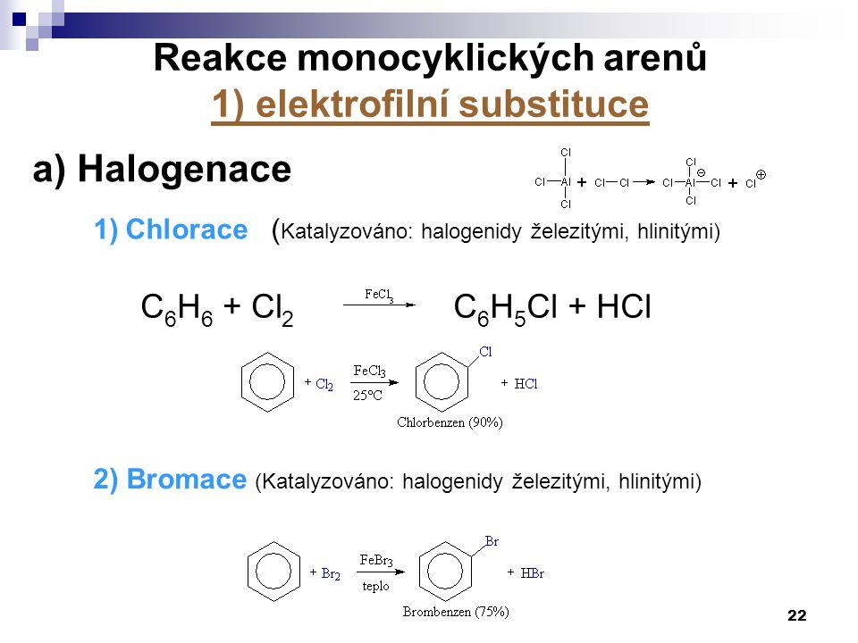 22 Reakce monocyklických arenů 1) elektrofilní substituce a) Halogenace 1)Chlorace ( Katalyzováno: halogenidy železitými, hlinitými) C 6 H 6 + Cl 2 C 6 H 5 Cl + HCl 2) Bromace (Katalyzováno: halogenidy železitými, hlinitými)