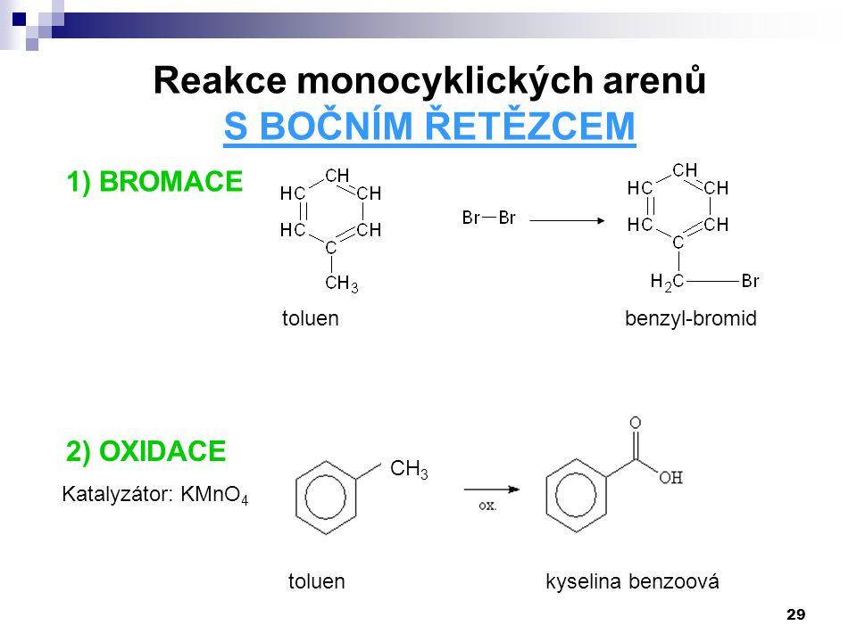 29 1) BROMACE Reakce monocyklických arenů S BOČNÍM ŘETĚZCEM toluenbenzyl-bromid 2) OXIDACE CH 3 Katalyzátor: KMnO 4 toluenkyselina benzoová