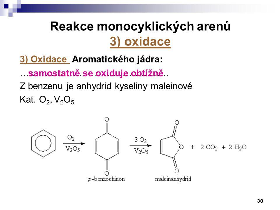 30 3) Oxidace Aromatického jádra: ………………………………………… Z benzenu je anhydrid kyseliny maleinové Kat. O 2, V 2 O 5 Reakce monocyklických arenů 3) oxidace s