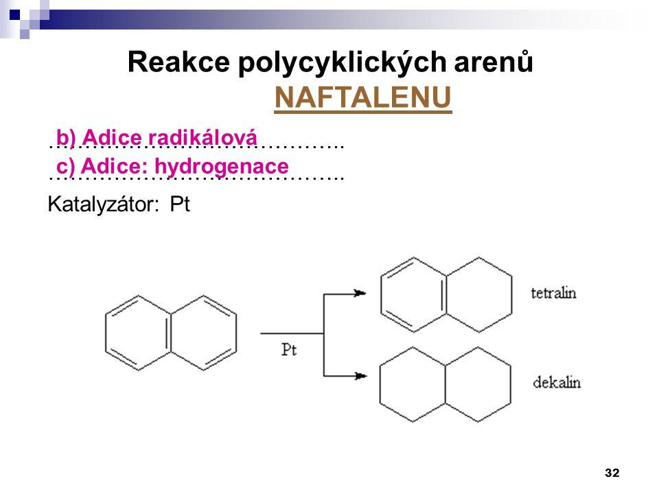 ………………………………….. Katalyzátor: Pt 32 Reakce polycyklických arenů NAFTALENU b) Adice radikálová c) Adice: hydrogenace