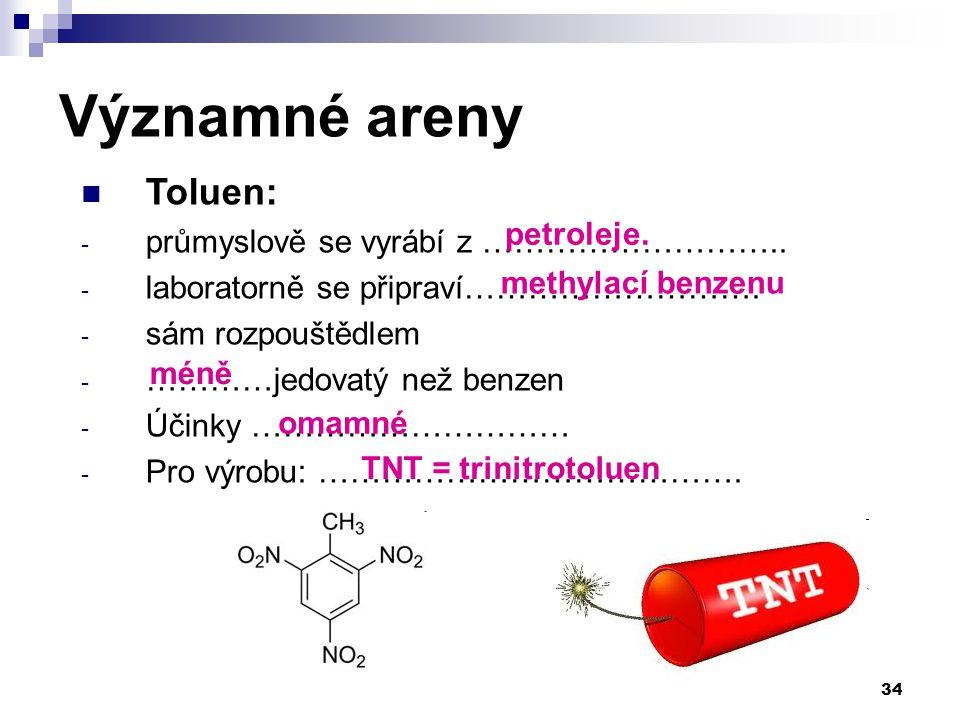 Toluen: - průmyslově se vyrábí z ……………………….. - laboratorně se připraví………………………. - sám rozpouštědlem - …………jedovatý než benzen - Účinky ………………………… - P